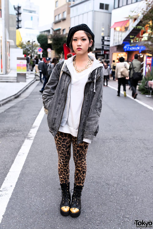 Acid Wash Jacket & Leopard Print