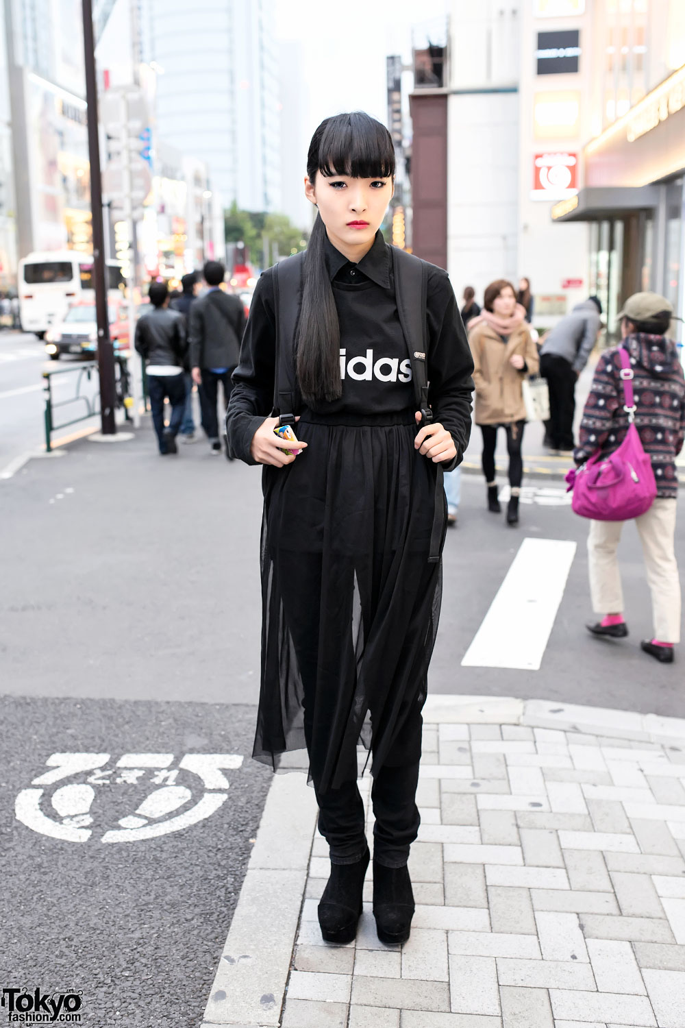 All Black Harajuku Street Style W Sheer Skirt Amp Suede Wedges