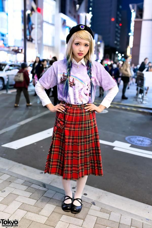 Ezaki Nanaho in Harajuku w/ Blue Ombre Hair, Unicorn Top & Plaid Skirt