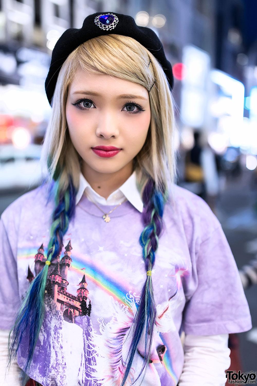 Ezaki Nanaho In Harajuku W Blue Ombre Hair Unicorn Top