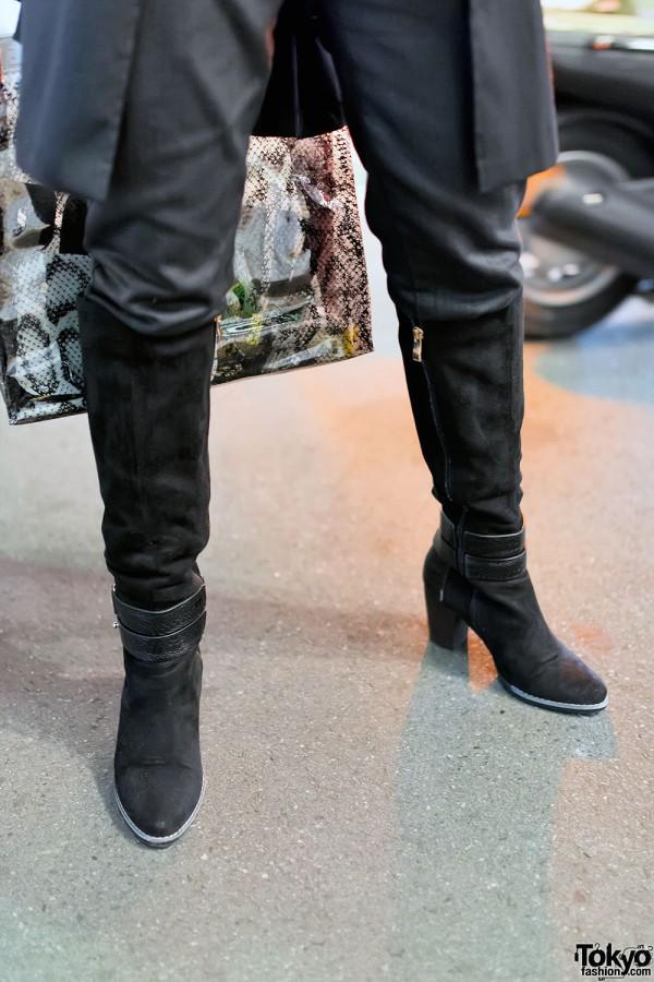 Black Pants & Black Boots in Harajuku