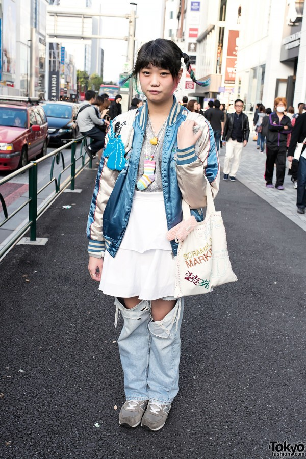 Colorful Braids, Kinji Resale & Pin Nap Retro Sneakers in Harajuku