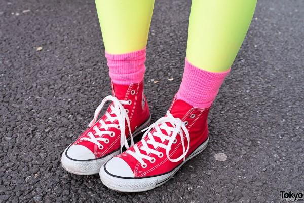 Pink Socks & Chuck Taylor Converse