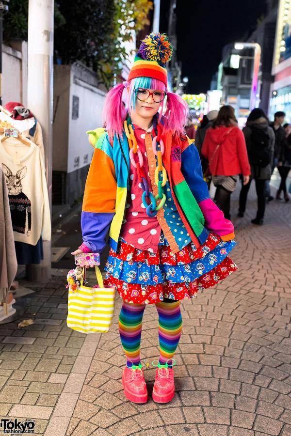 Harajuku Rainbow Style W Pink Blue Hair Pandas