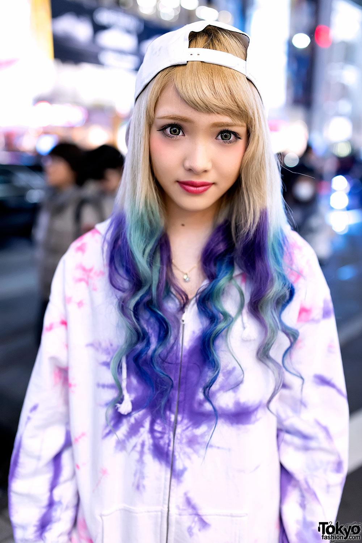 Dip Dye Hair Tie Dye Hoodie Unicorn Cap Amp Converse In