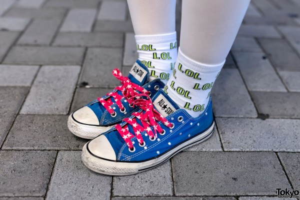 Converse Sneakers and LOL Socks