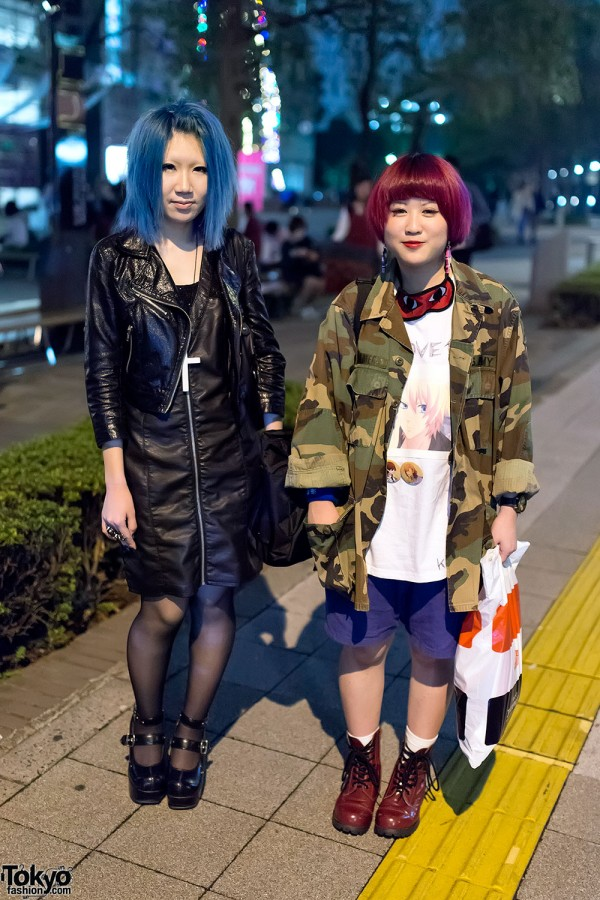 Blue Hair & Leather vs. Red Hair & Camo on the Street in Shinjuku