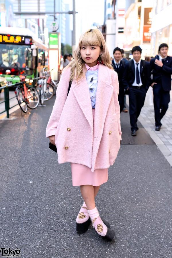 Stylish Pink Look w/ Cherry Earrings, Chanel Bag & Leopard Platforms