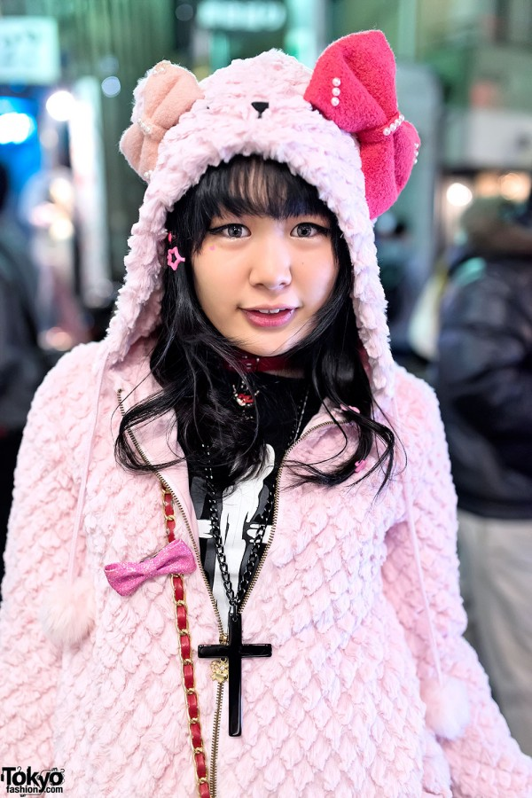 Fuzzy Pink Bow Hoodie