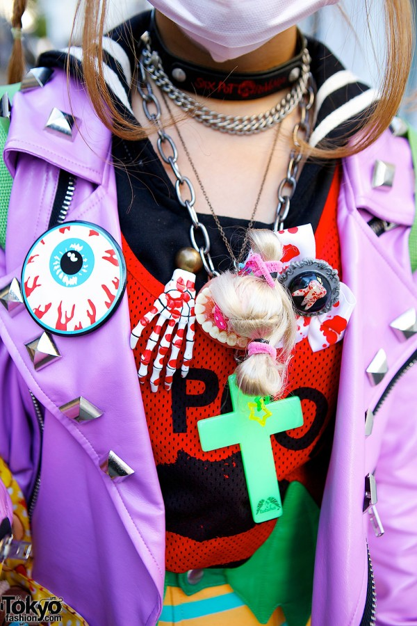 Cross, doll, skeleton necklaces