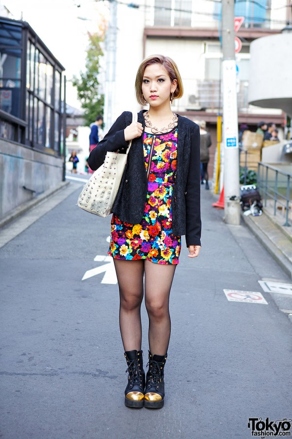 ANAP Floral Mini, Studded Bag & Gold Toe Boots in Harajuku