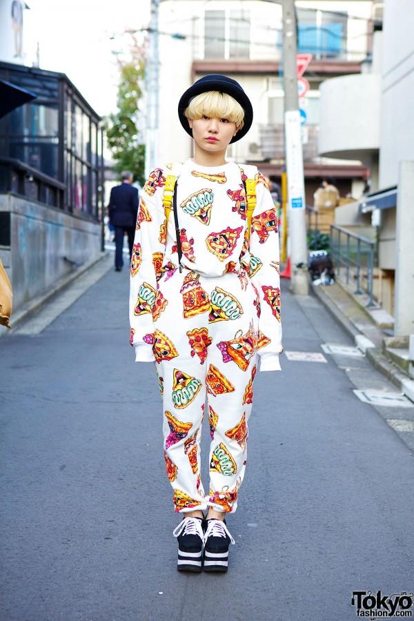 Joyrich x Malcolm Stuart Pizza Print & Platform Sneakers in Harajuku