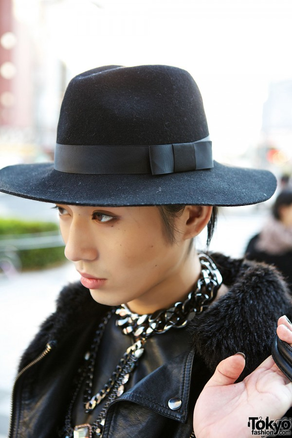 Black Felt Hat in Harajuku