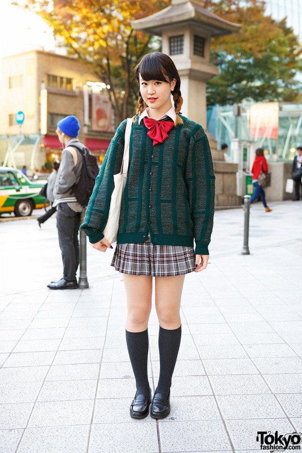 Harajuku Girl in Plaid Skirt, Green Cardigan, Loafers & Red Bow