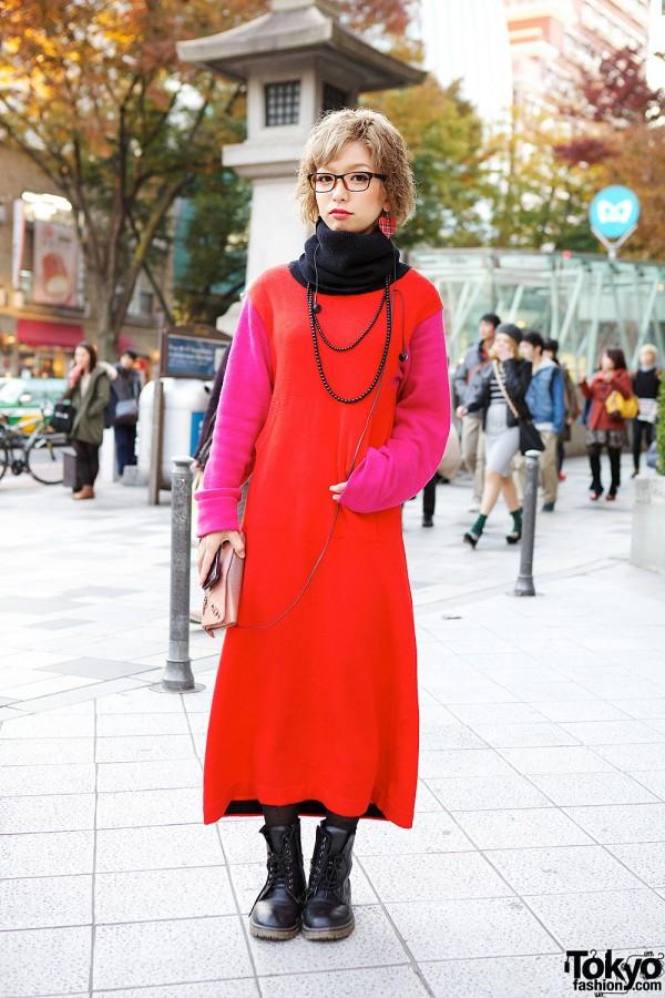 Kinji Colorblock Dress & Lace-up Boots in Harajuku