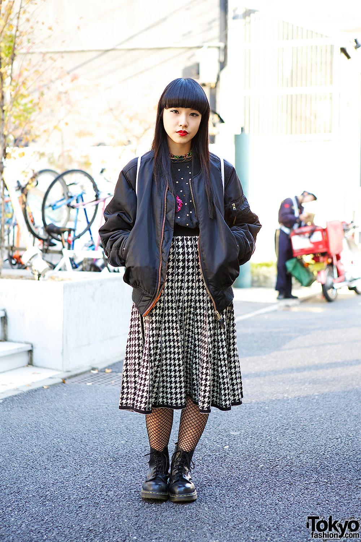 Houndstooth Midi Skirt in Harajuku