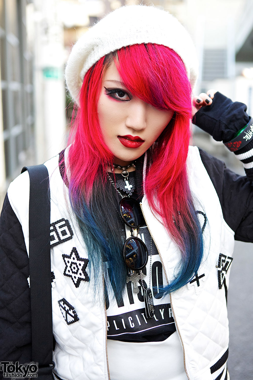 Moth In Lilac Guitarist W Pink Blue Dip Dye Hair In Harajuku