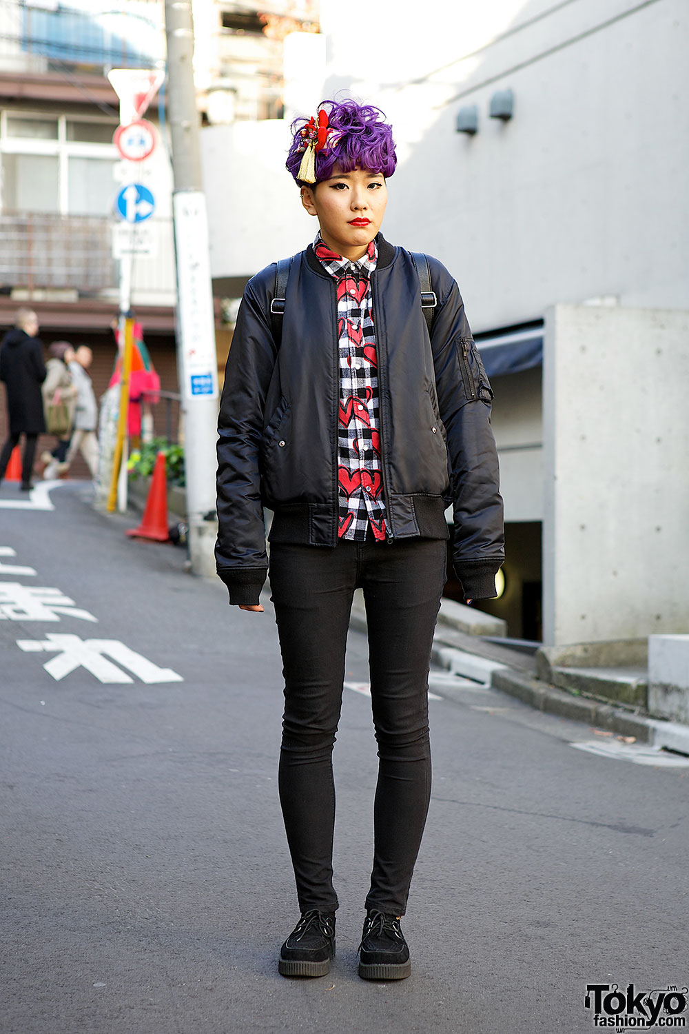 Purple Hair, Joyrich Simpsons Bomber Jacket & Wings Backpack in Harajuku