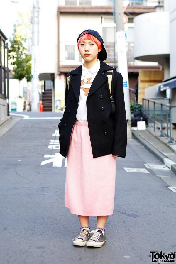 Orange Hair, Resale Knit Skirt, Vintage Converse & Mickey Ring in Harajuku