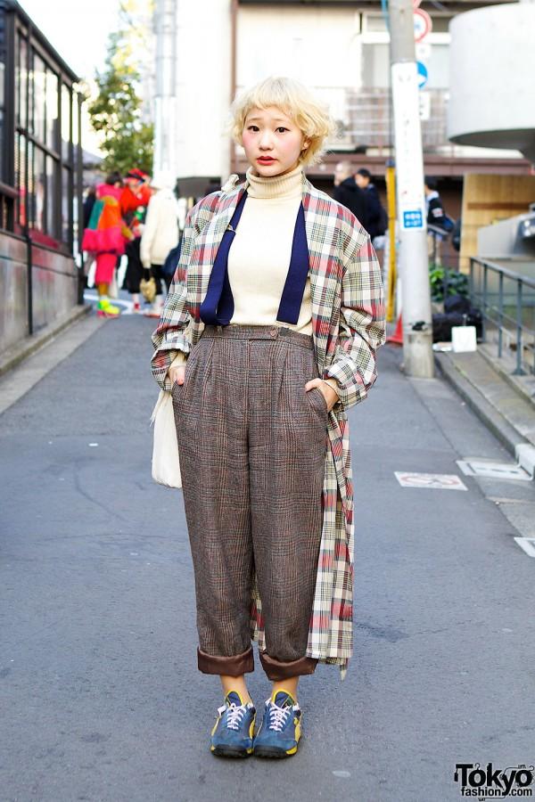 Short Blonde Hair w/ Plaid, Suspenders & Retro Sneakers in Harajuku