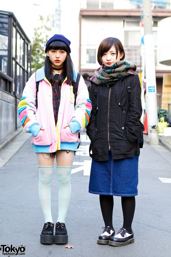 Harajuku Girls Wearing Galaxxxy, Led Zeppelin, Long Socks, Creepers & Dr. Martens