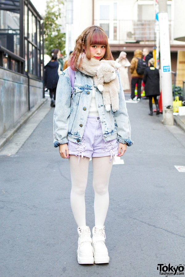 Kawaii Denim Pastel Outfit in Harajuku
