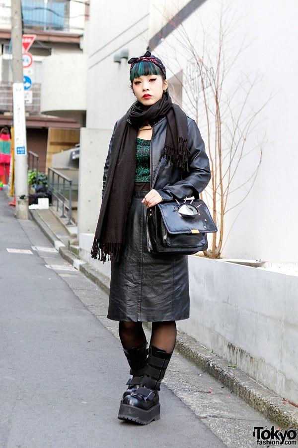 Green Hair, Eye-Spikes Bag, Gauged Ear & Demonia Boots in Harajuku