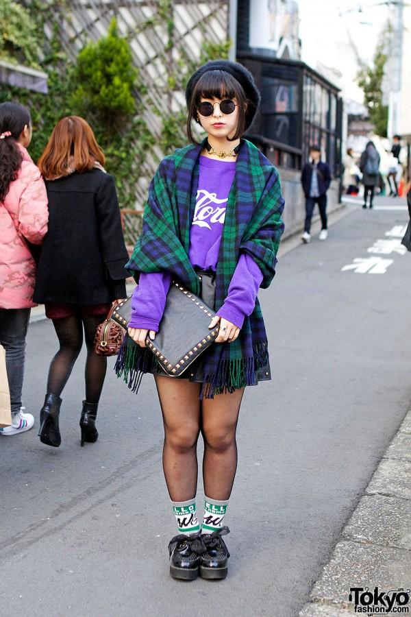 Tartan Scarf, Round Glasses, Spinns Skirt & Creepers in Harajuku