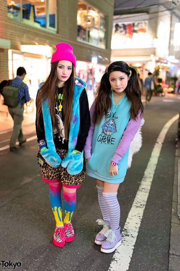 Harajuku Sisters w/ Tiger Backpacks, Toxic Cupcakes & Neon Creepers