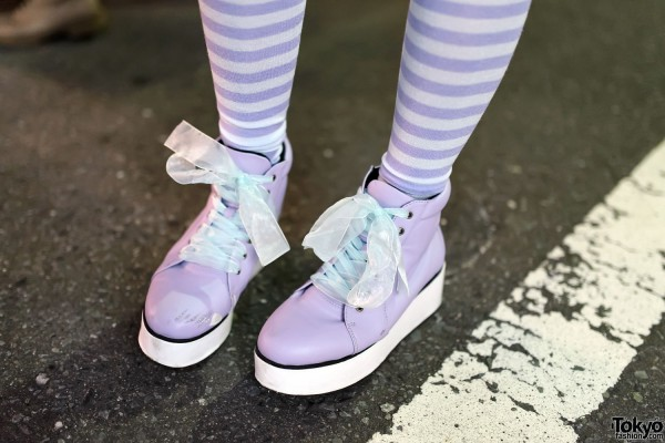 Striped Socks & Purple Platform Sneakers