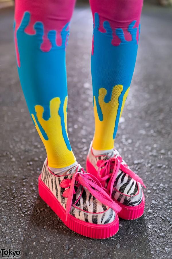 Colorful Socks & Neon Creepers