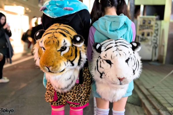 Tiger Head Backpacks in Harajuku