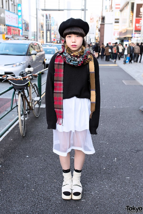 Sheer Skirt & Sweater in Harajuku