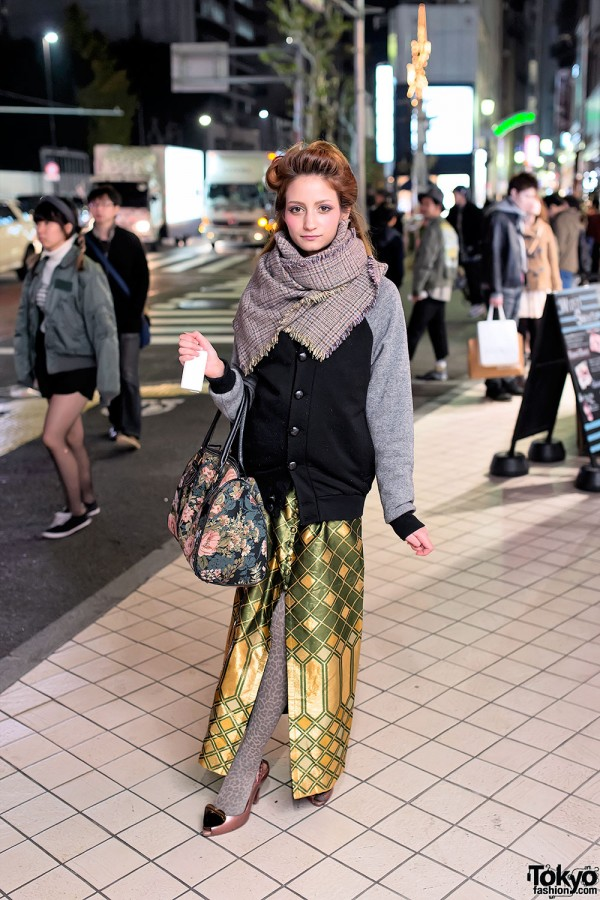 Vintage Gold Maxi-skirt in Harajuku