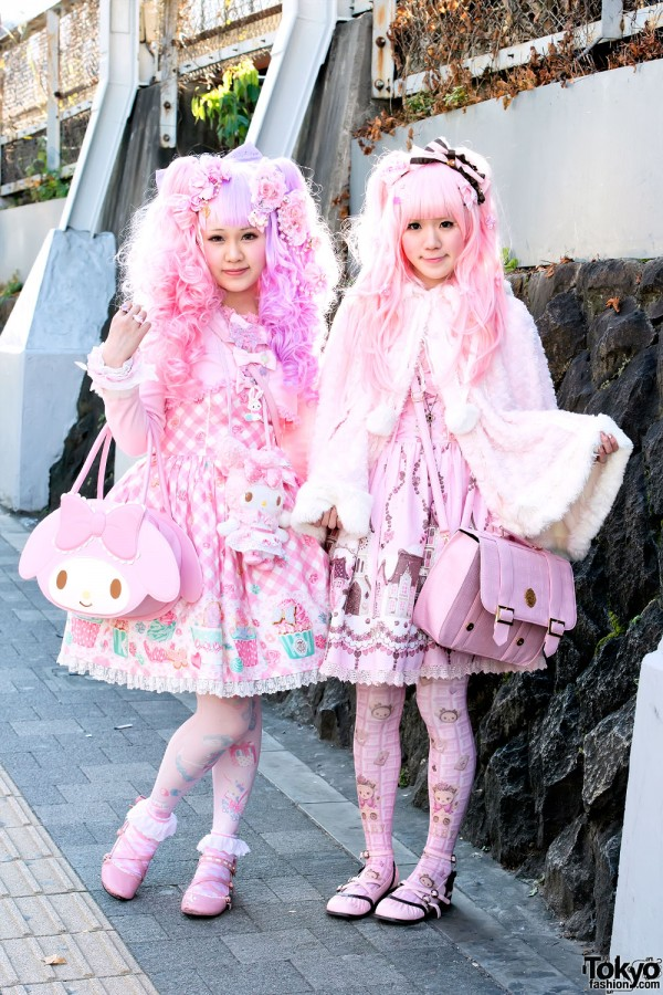 Super Pink Sweet Lolitas in Harajuku