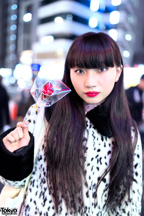 Asami Hida With Black Hair & Red Lipstick