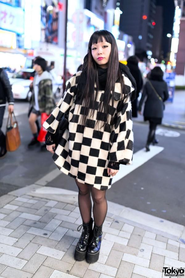 Checkered Coat, Vivienne Westwood Bag & Murua Boots in Harajuku