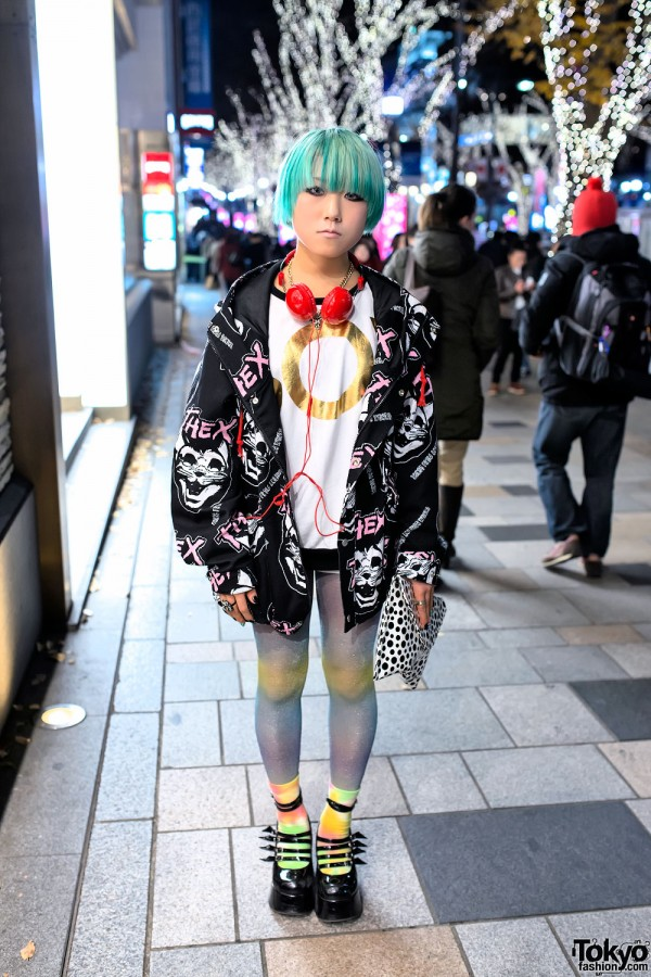 Short Green Hair, Galaxxxy Jacket, Polka Dots & Platforms in Harajuku