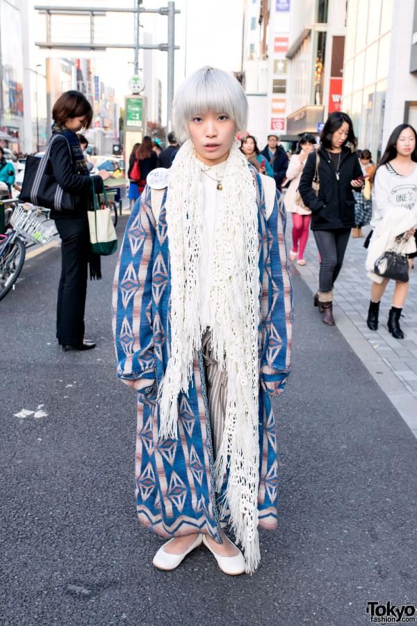 Harajuku Makeup Artist w/ Short Silver Hair, Muji & Uniqlo