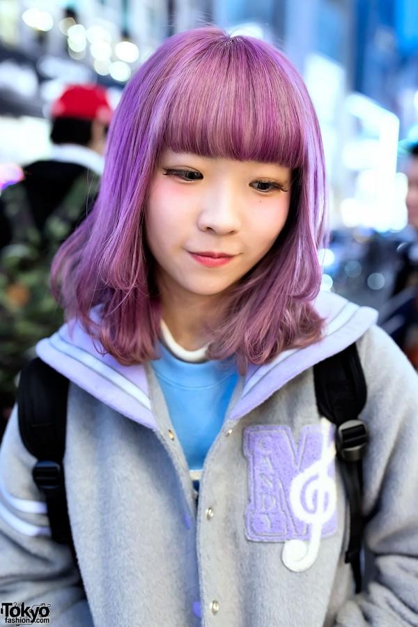 Pastel Purple Hair Amp Pastel Sailor Collar Varsity Jacket