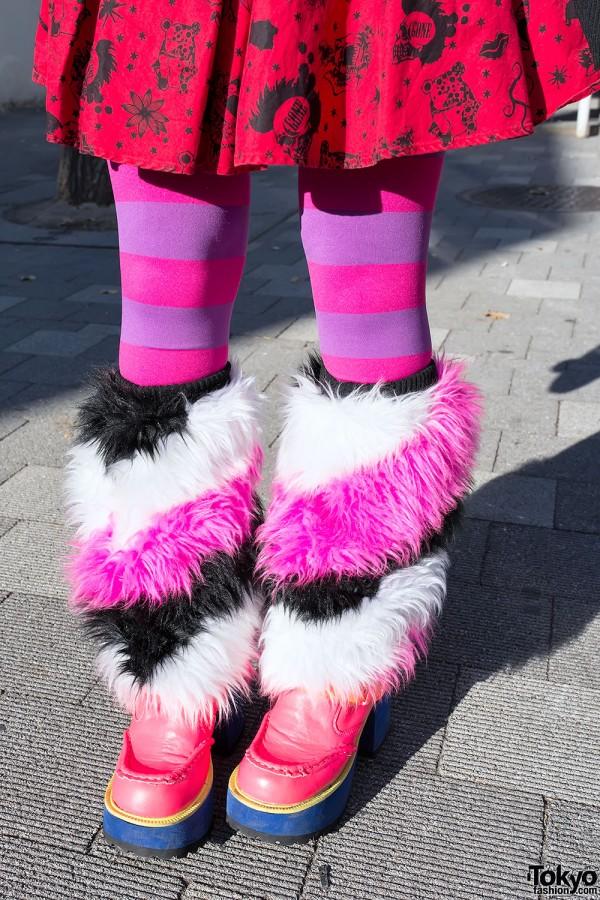 Pink Striped Furry Leg Warmers