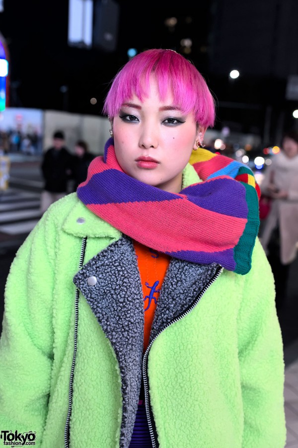 Short Pink Hair & Colorblocked Scarf