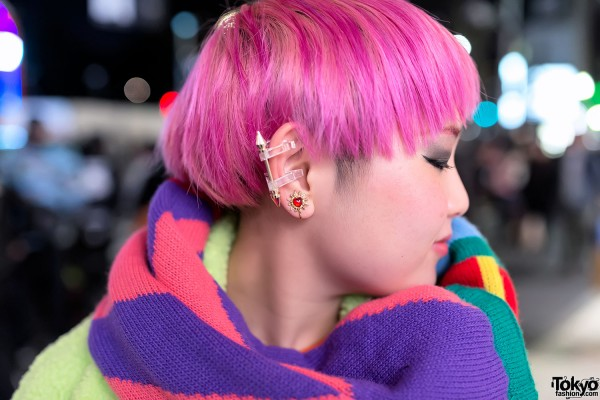 Short Pink Hair & MYOB Earrings