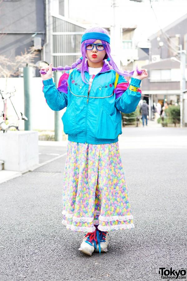 Lilac Hair With Resale Fashion, Glasses & Sponge Bob in Harajuku