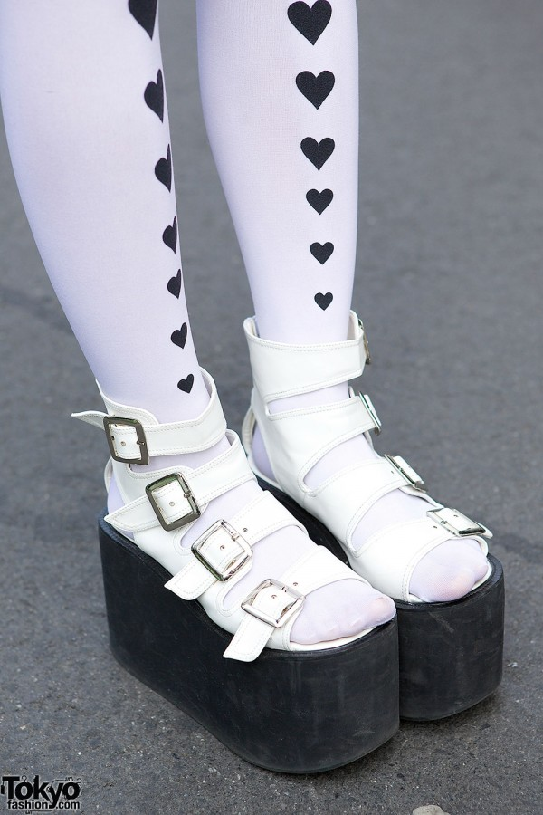 Heart Tights & Platform Sandals