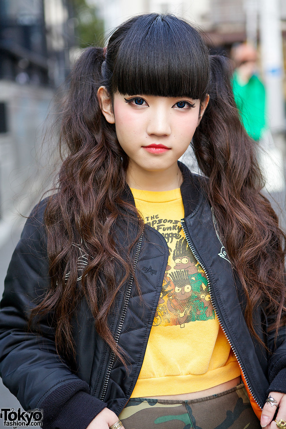 Cute Twintails, Alpha Industries Bomber & Camo Maxi Skirt in Harajuku
