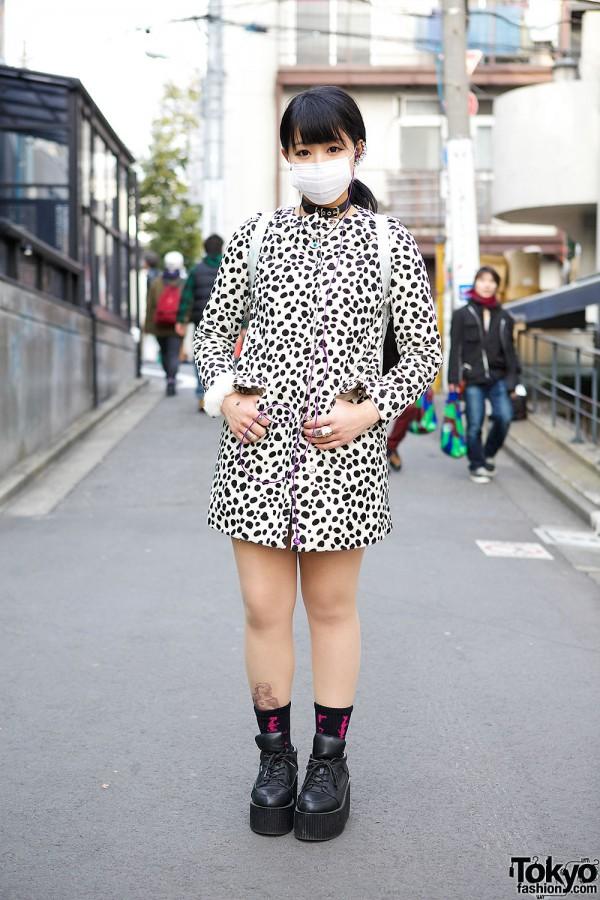 Lil Lilly Dalmatian Coat w/ UNIF Backpack & Jouetie Platforms in Harajuku