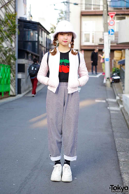 Cherry Sweater, Gingham Pants, Buffalo Platforms & Vintage Coach in Harajuku
