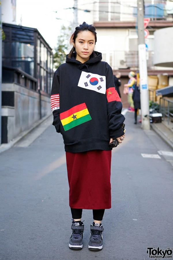 Supreme Flags Hoodie w/ Maxi Skirt, Piercings & Pastel Ponytail