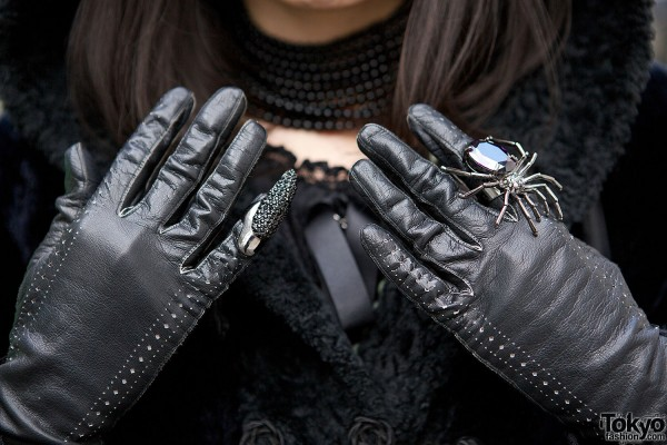 Leather Gloves & Spider Ring